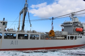 Throughout the period we have completed Replenishment at Sea (RAS) and Light Jackstay operations with HMZNS ENDEAVOUR. RAS operations are used to transfer fuel from the tanker to us, while the Light Jackstay (shown in this photo) is used to transfer stores and supplies between both ships.